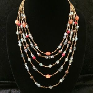 Jewelry - 5-Strand Bronze Beads w/ Colorful accents K007